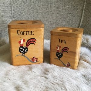 Vintage Nesting Wooden Rooster Canisters